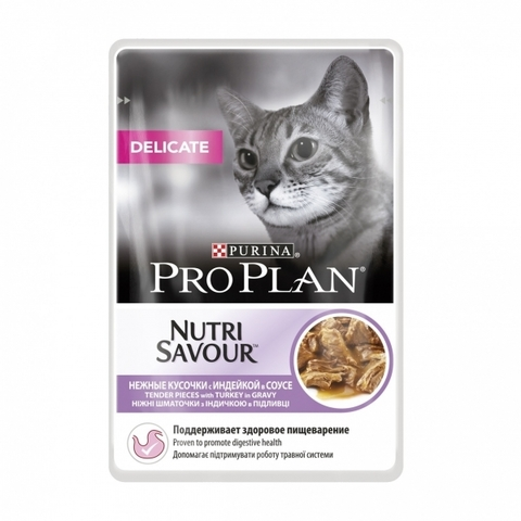 Корм для кошек Purina Pro Plan (0.085 кг) 1 шт. NutriSavour Delicate feline with Turkey in gravy