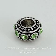 Бусина металлическая для пандоры - рондель со светло-зелеными стразами (цвет - античное серебро) 11х6 мм