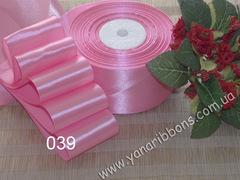 Лента атласная однотонная розовая - 039