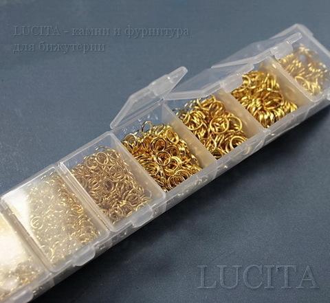 Набор колечек одинарных (примерно 1700 шт) в контейнере (цвет - золото) 3-9х0,5-1 мм (Картинка3)
