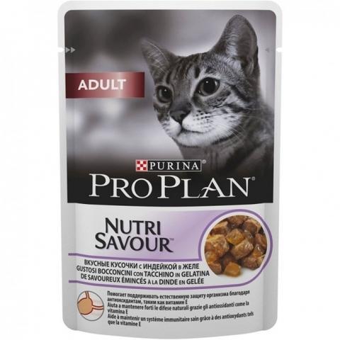 Корм для кошек Purina Pro Plan (0.085 кг) 1 шт. Adult feline with Turkey in Jelly