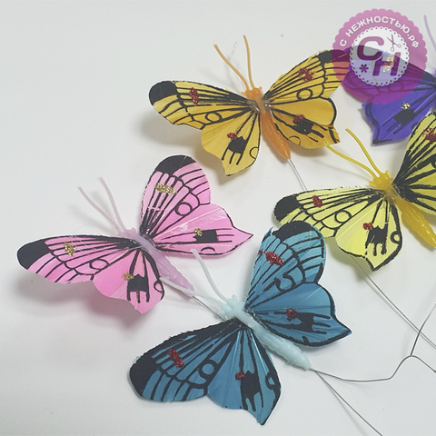 Бабочки декоративные на проволоке, 6 см, 1 шт. МИКС.