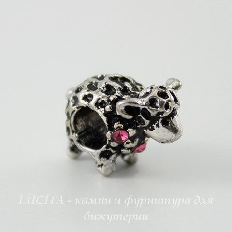 """Бусина металлическая для пандоры """"Овечка"""" с розовыми стразами (цвет - античное серебро) 16х12 мм"""
