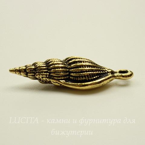 "Подвеска TierraCast ""Ракушка"" (цвет-античное золото) 24х8 мм"
