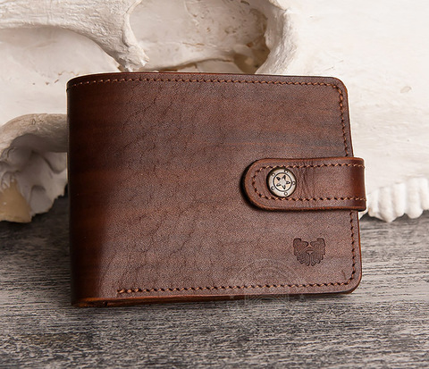 WB154-2 Мужской кошелек ручной работы для купюр, карт и монет,