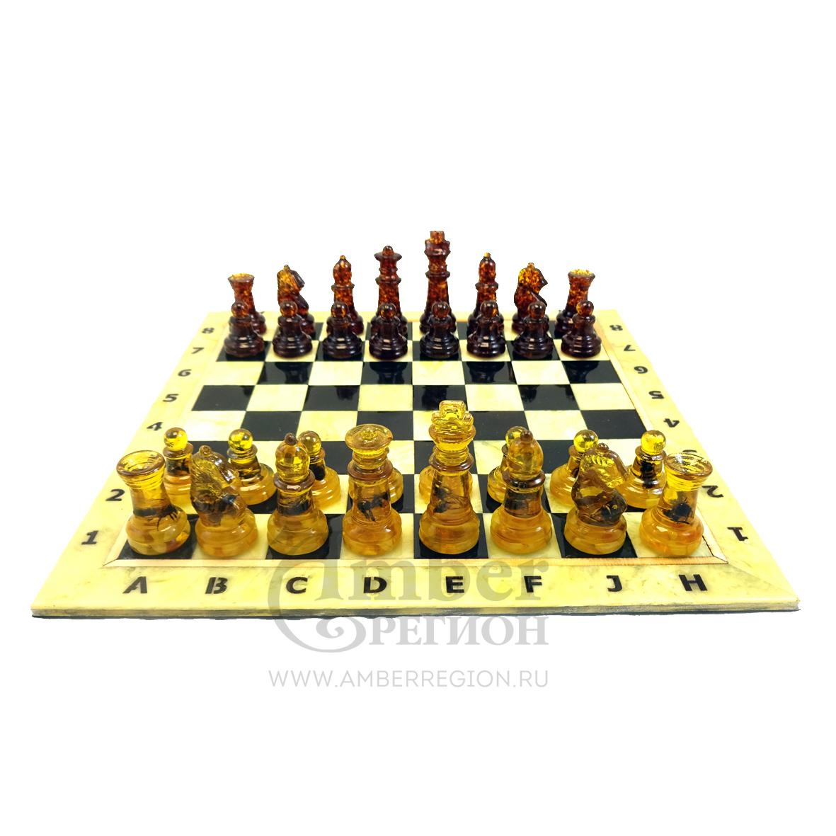 Шахматы с инклюзами (внутри насекомые) для досок 25*25 см