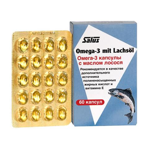 САЛЮС Омега-3 капсулы с маслом лосося, 60 капсул по 710 мг (в картонной пачке)