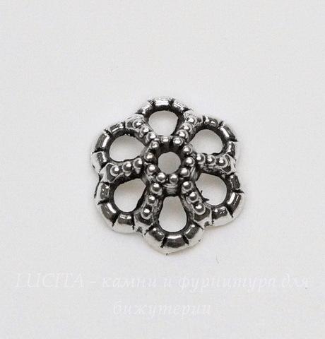Шапочка для бусины 9х4 мм (цвет - античное серебро), 10 штук