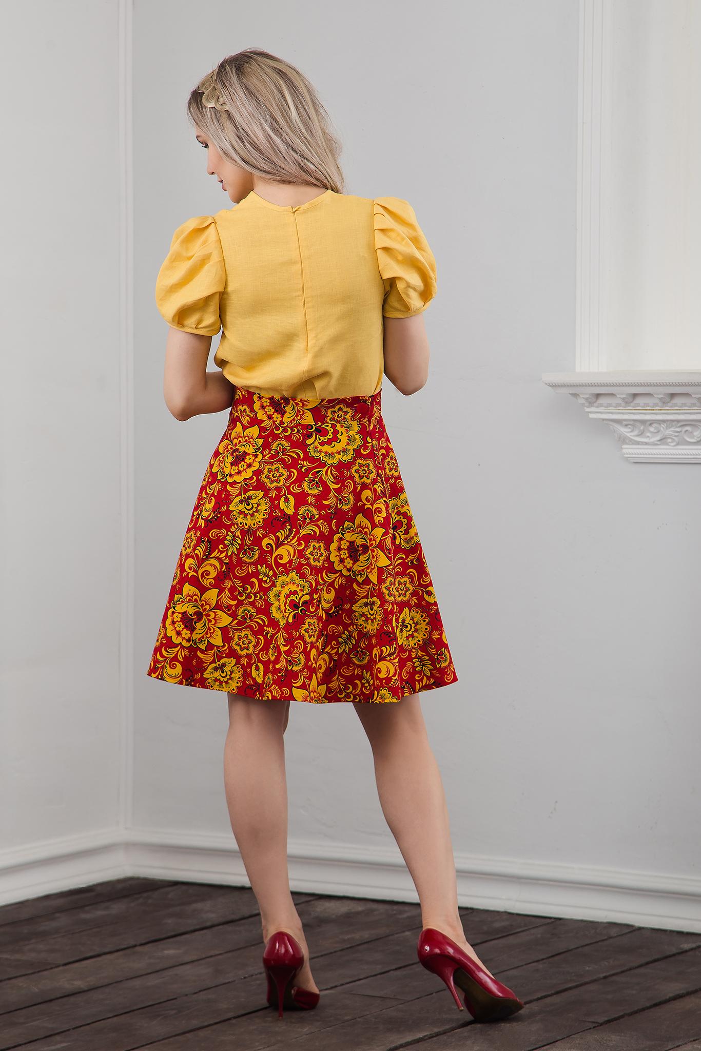 Блуза льняная жёлтая льняная вид сзади
