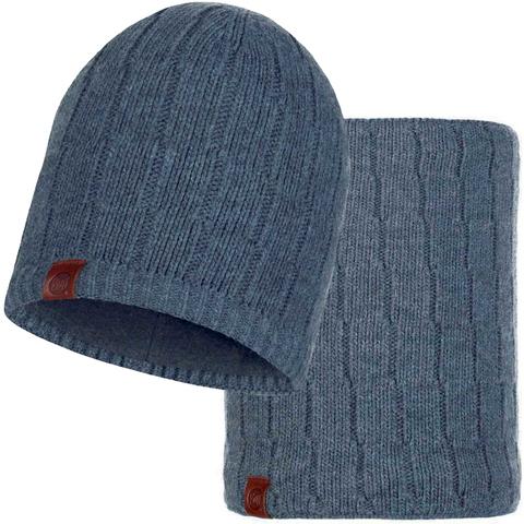 Комплект шарф-шапка вязаный с флисом Buff Jeroen Grey