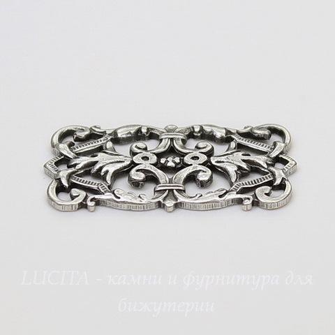 Винтажный декоративный элемент - коннектор (1-1) 26х14 мм (оксид серебра)