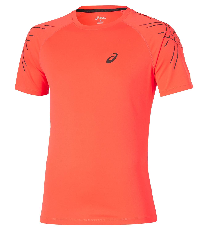 Мужская спортивная футболка Asics SS Stripe Top (126236 0694) оранжевая