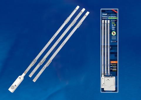 ULM-F42-3W/4200K SENSOR IP20 WHITE Комплект светодиодных полосок с датчиком движения 10Lux. Питание 4ААА. 150Lm. Белый. ТМ Uniel