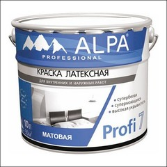 Краска для влажных помещений ALPA Profi 7 (Белый)