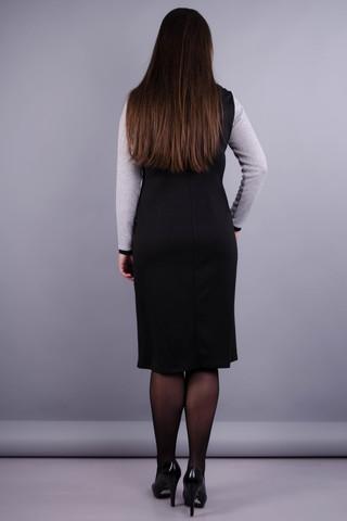 Альфа. Жіноча сукня у діловому стилі великих розмірів. Сірий/чорний.