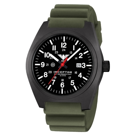 KHS Uhr Inceptor Black Steel Diverband oliv