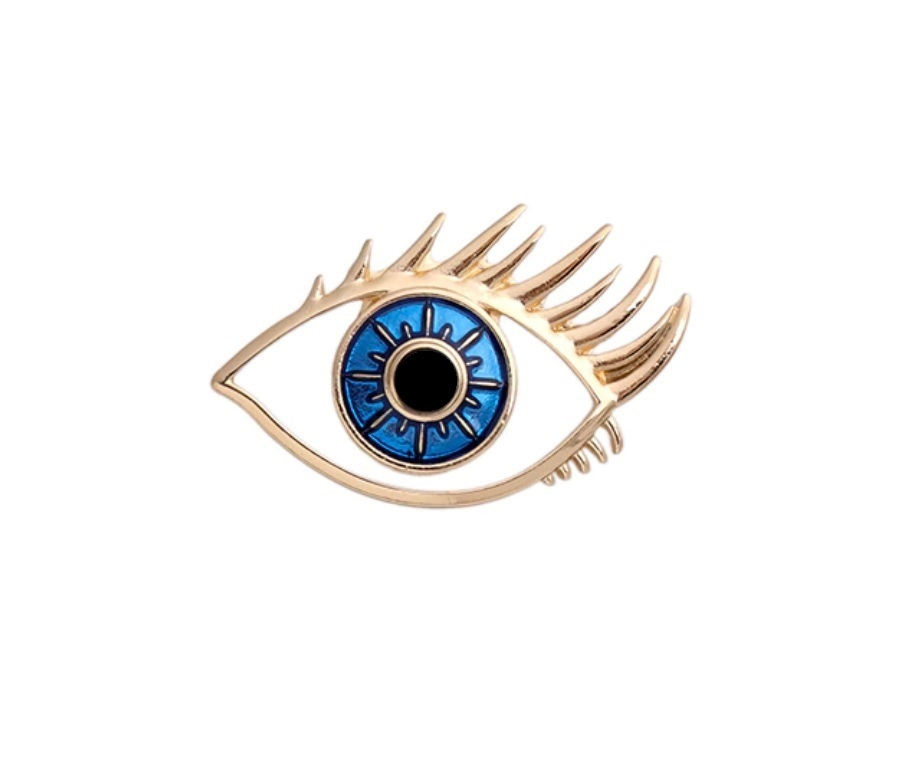 Брошь Глаз с ресницами (золотой цвет)