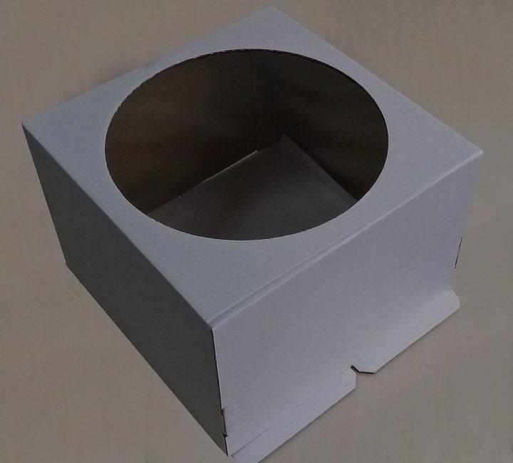 Коробка белая для торта с круглым окном