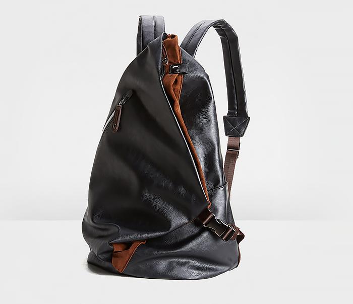 BAG424-1 Оригинальный мужской рюкзак из кожи черного цвета фото 03