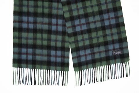 Шерстяной шарф, мужской зеленый в клетку 31371
