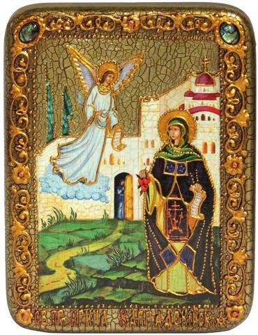 Инкрустированная икона Святая преподобная Ирина Каппадокийская (Хрисоволанта) 20х15см на натуральном дереве в подарочной коробке