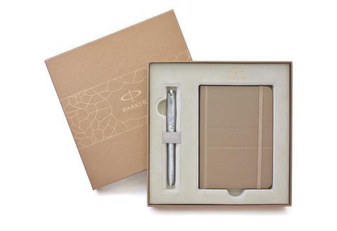 Подарочный набор Parker. Перьевая ручка Urban Premium Silver Blue Metallic  + записная книжка