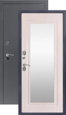Дверь входная Sidoorov 80 зеркало Макси, 2 замка, 1,5 мм  металл, (серебро антик+беленый дуб)