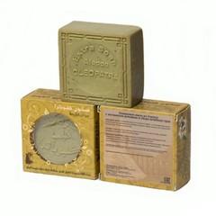 Мыло алеппское оливковое в картонной коробке с круглыми отверстиями РОМАШКА и СБОР ЛЕЧЕБНЫХ ТРАВ, 150g ТМ Клеопатра