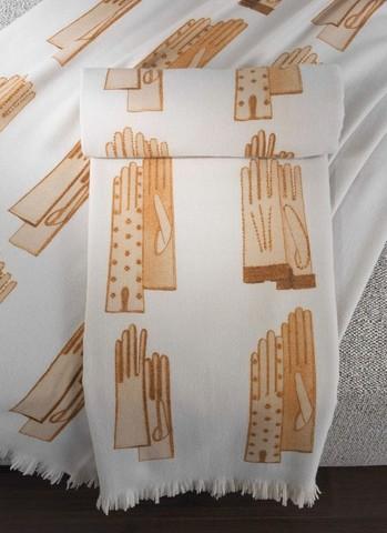 Плед шерстяной 140x180 Trussardi Gloves кремовый