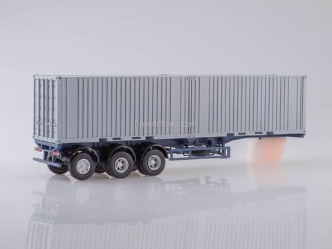 MAZ-6422 with semitrailer container carrier MAZ-938920 green-gray 1:43 AutoHistory