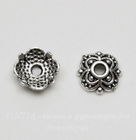 """Шапочка для бусины """"Городец"""" 8х2 мм (цвет - античное серебро), 10 штук"""