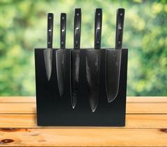 Набор из 5 кухонных стальных ножей Samura 67 Damascus с подставкой WoodinHome