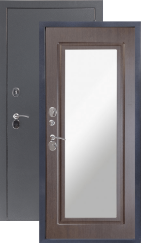 Дверь входная Sidoorov 80 зеркало Макси, 2 замка, 1,5 мм  металл, (серебро антик+венге)