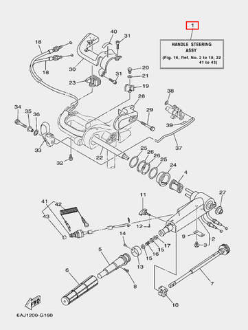 Румпель в сборе для лодочного мотора F20 Sea-PRO (16-1)