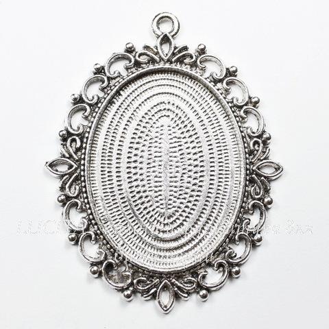 """Сеттинг - основа - подвеска """"Ажурный"""" для кабошона 40х30 мм (цвет - античное серебро)"""