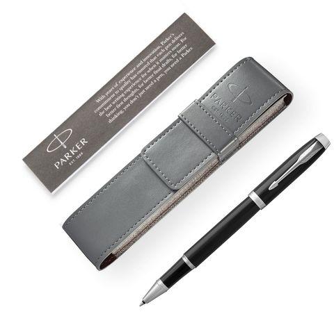 Подарочный набор: Чехол под ручку и Ручка-роллер Parker IM Metal, цвет: Black CT123