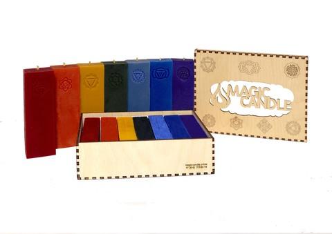 Большой премиальный набор из 7-ми чакровых свечей в подарочной коробке