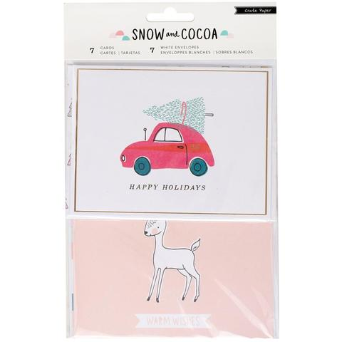 Набор открыток с конвертами 10х 13 см - Snow & Cocoa от Crate Paper - 7 шт