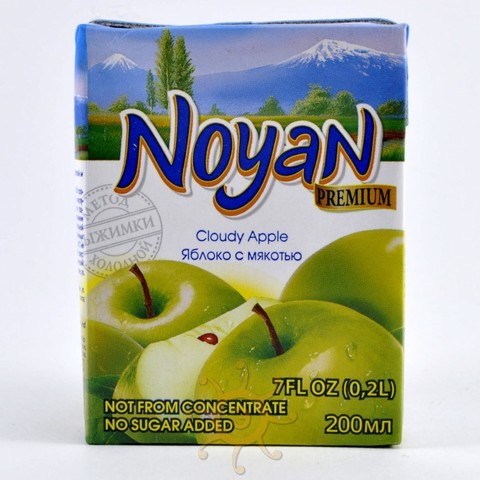 Сок яблочный прямого отжима без сахара Ноян, 200г