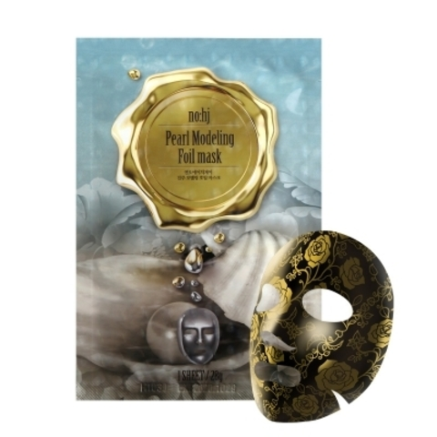 Фольгированная тканевая маска с золотом и жемчугом, 28 г / NO:HJ Pearl modelling Foil Mask