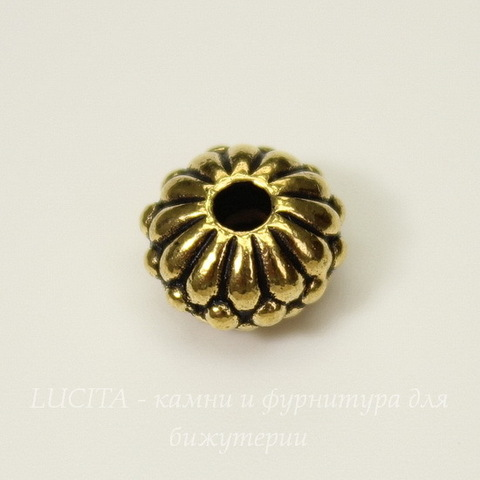 Бусина - рондель TierraCast 10х6 мм (цвет-античное золото)