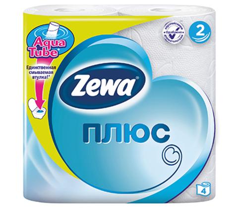 Туалетная бумага Zewa плюс 2-х слойная Белая 4 шт