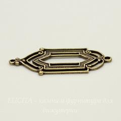 Винтажный декоративный элемент - коннектор (1-1) 28х14 мм (оксид латуни)