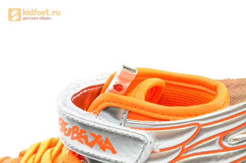 Светящиеся кроссовки с крыльями с USB зарядкой Бебексия (BEIBEIXIA), цвет оранжевый серебряный, светится вся подошва. Изображение 16 из 16.