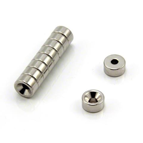 Магнит с зенковкой 10х4/7х5 мм, N42, никель, неодимовое кольцо