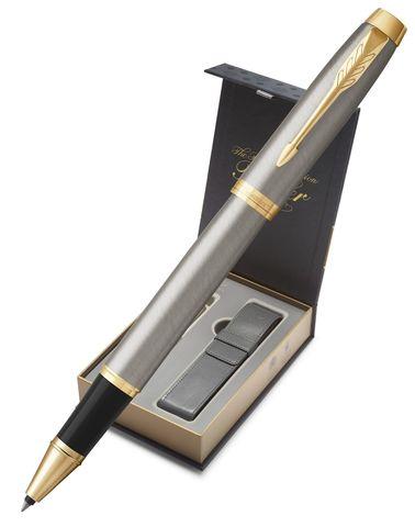 Подарочный набор с чехлом и Ручка-роллер Parker IM Metal, цвет: Silver GT