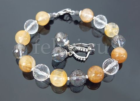 серьги и браслет из кварца_песочный браслет_фото