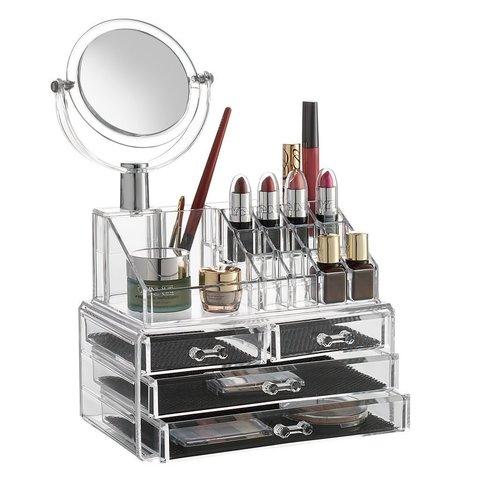 Органайзер прозрачный для косметики с зеркалом