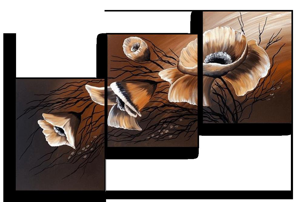 Модульные картины Лепестки на коричневом (Ручная работа маслом) р69.png