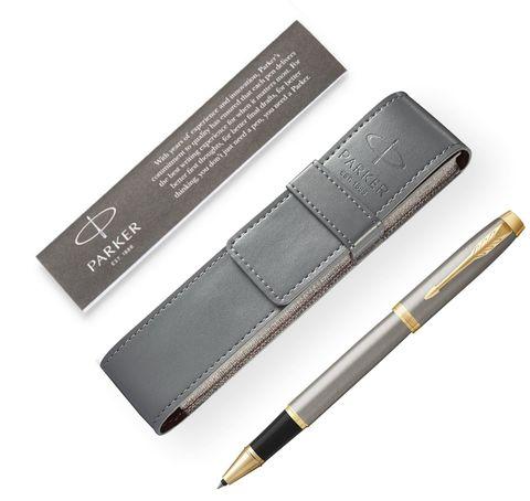 Подарочный набор с чехлом и Ручка-роллер Parker IM Metal, цвет: Silver GT123